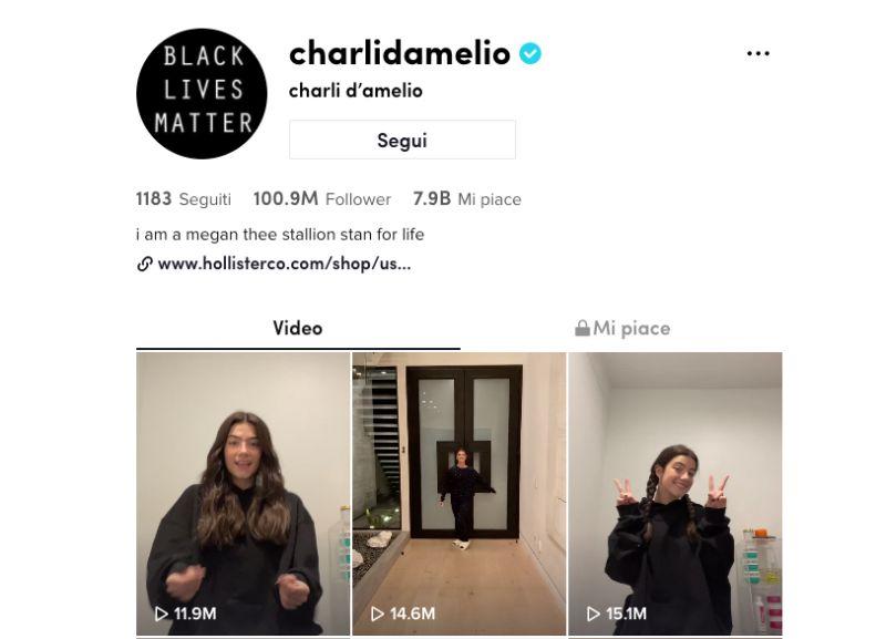 100 milioni di follower su TikTok per Charlie D'Amelio